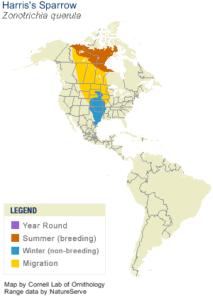 Harris's Sparrow Range Map - Cornell